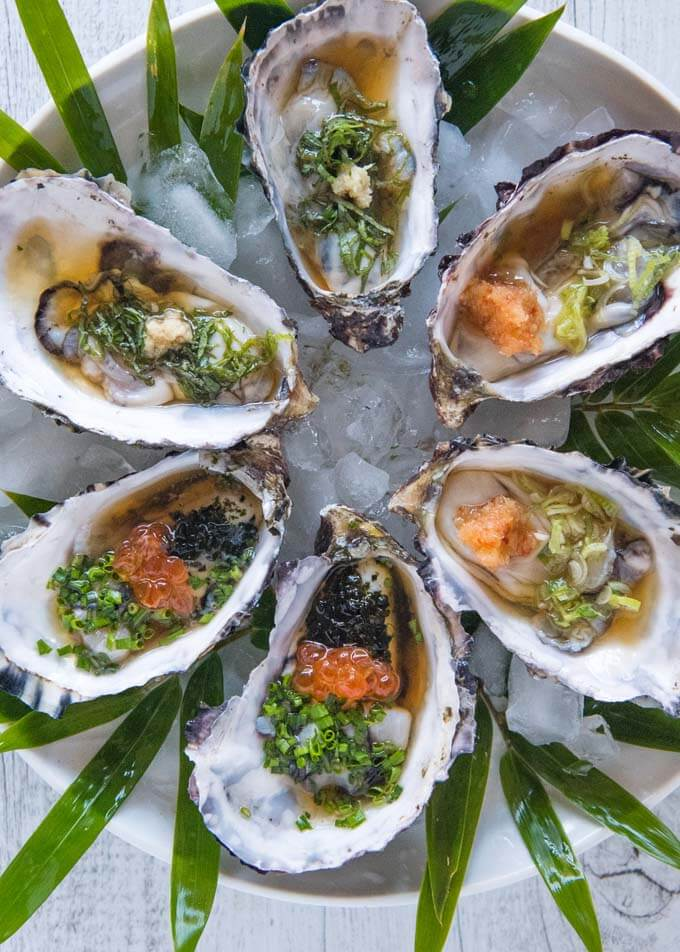 Hero shot of 6 Oysters with Tosazu Dressing 3 Ways.