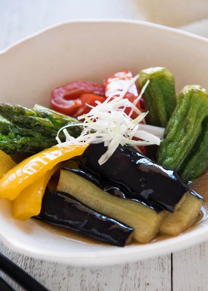 Hero shot of Fried Vegetables in Broth.