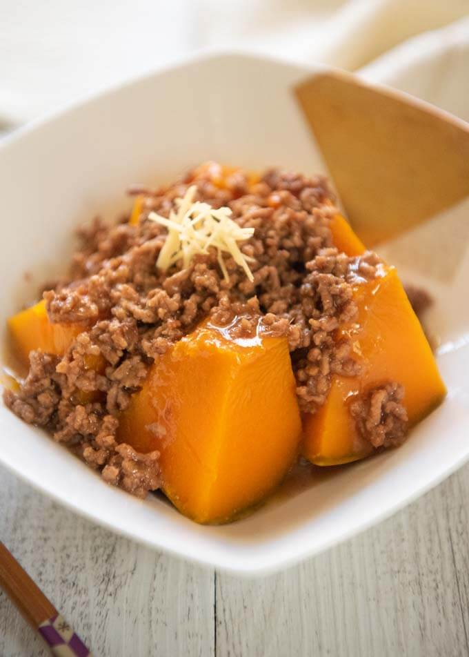 Steamed Pumpkin with Beef Mince Sauce in a bowl.