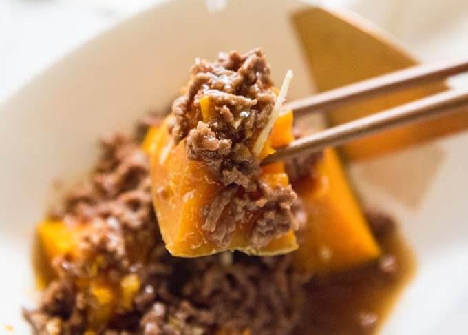 Zoomed-in photo of Steamed Pumpkin with Beef Mince Sauce.