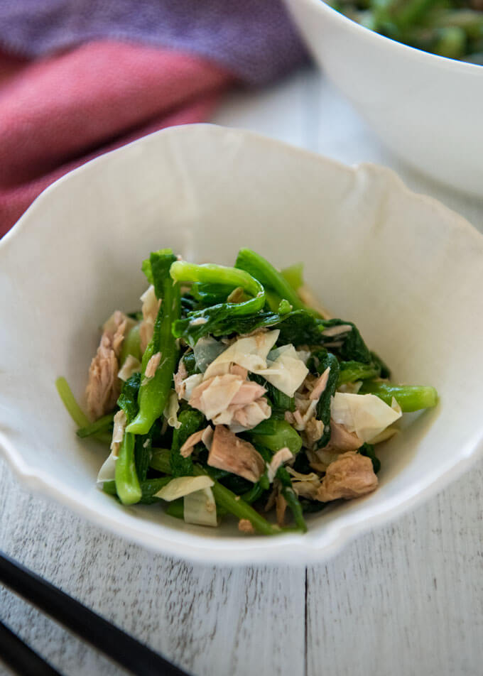 Baby Mustard Greens And Tuna Salad Recipetin Japan