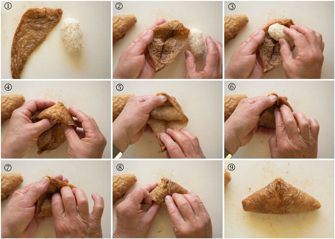 Step-by-step photos of how to make a triangle Home-made Inari Sushi.