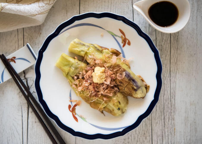 Top-down photo of Grilled Japanese Eggplant (Yaki Nasu).
