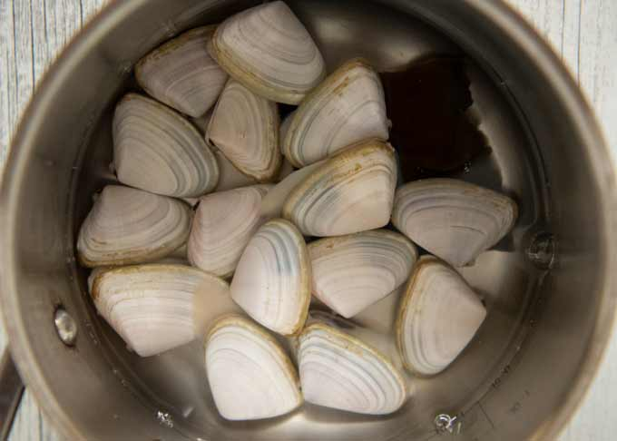 Clams with knob with water in a pot.