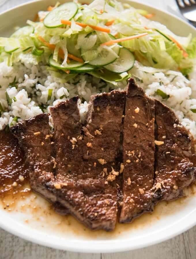 Hero shot of Steak with Japanese Garlic Steak Sauce.