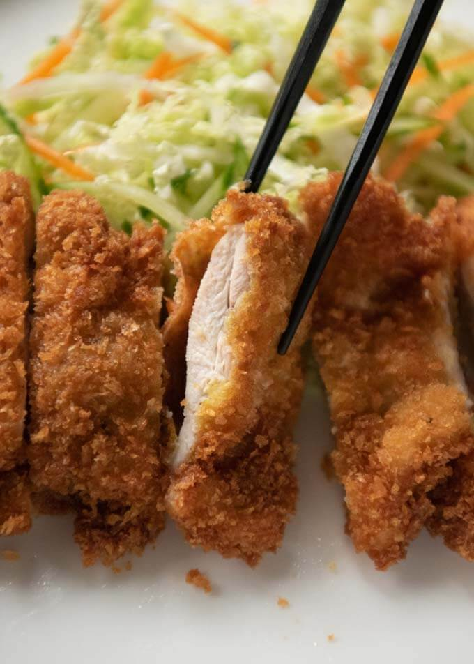 Japanese Chicken Cutlet showing the chicken inside the crumbs.