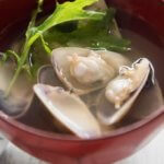Clear Soup with Clam in a bowl.