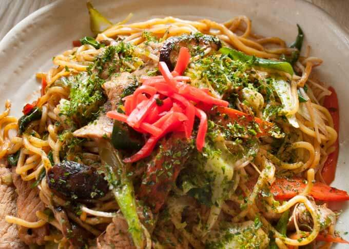 Zoomed-in photo of Yakisoba.