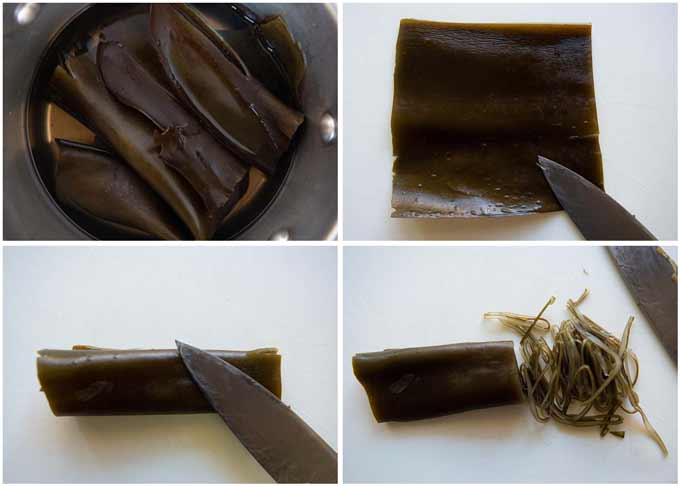 Step-by-step photo of how to julienne konbu.