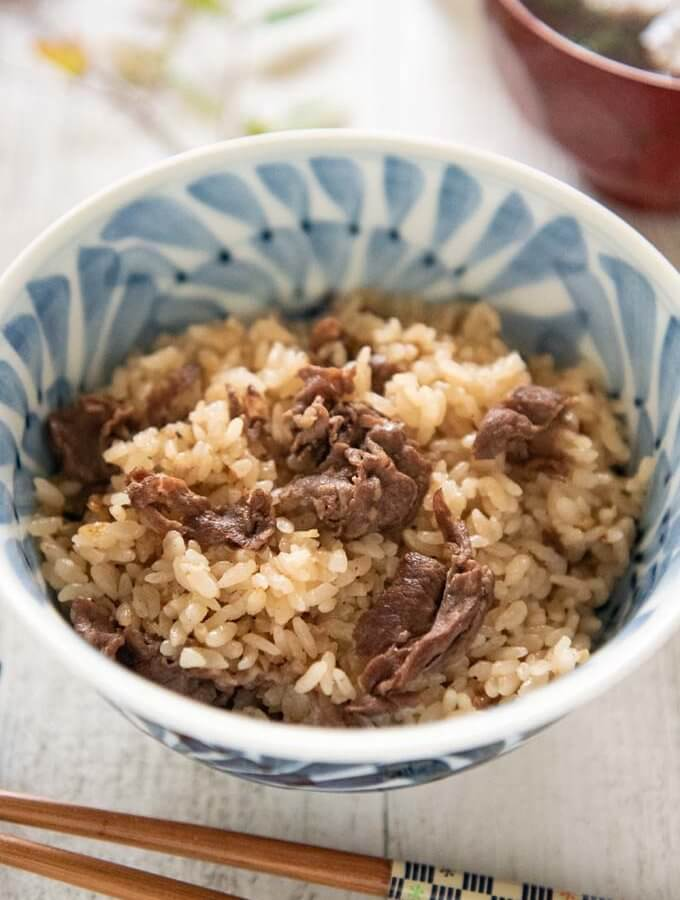 Hero shot of Japanese Beef and Rice in a bowl.