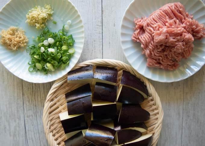 Ingredients of Eggplant with Minced Pork (Mābō Eggplant).