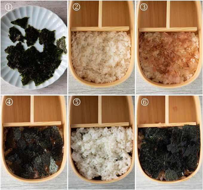 Steps to make a double decker Norii Bento.