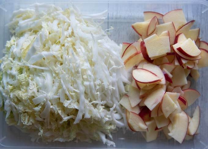 Main ingredients - shredded Chinese cabbage and sliced apples.
