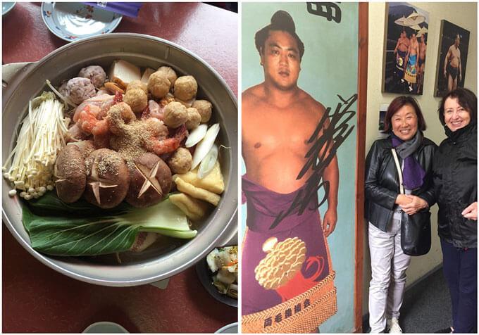 Chanko Nabe served at the restaurant Kirishima and the photo of Kirishima as a sumo wrestler.