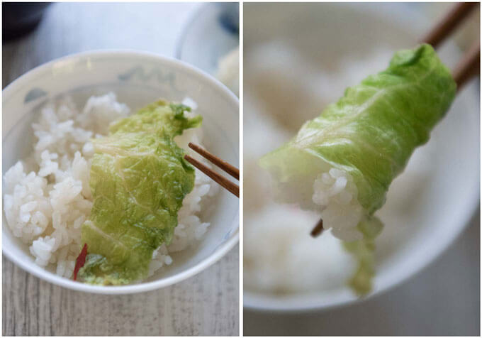 Wrapping rice with a Pickled Chinese Cabbage leaf.