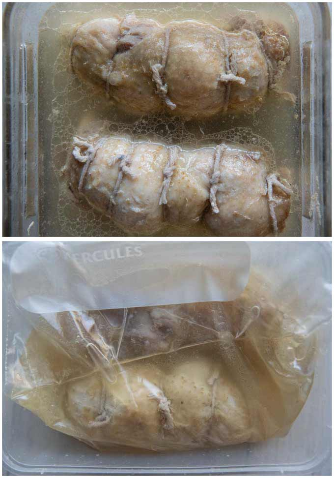 Salty Chicken Rolls marinated in the broth.
