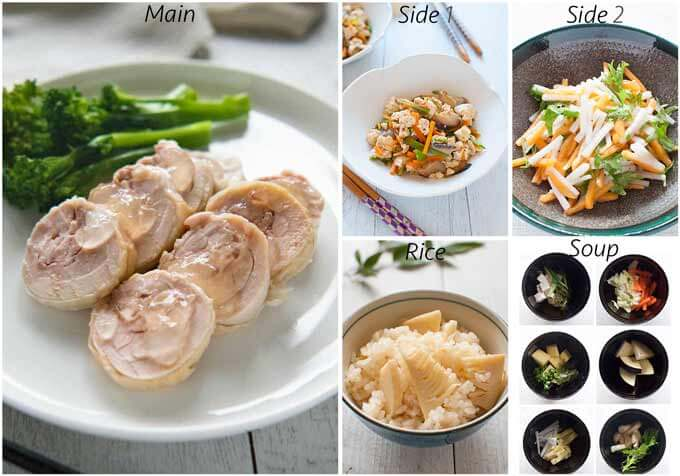 Dinner idea with Hero shot of Salty Chicken Rolls.