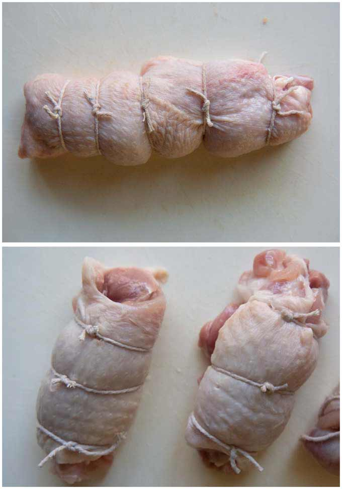 Showing how to tie rolled chicken fillets.