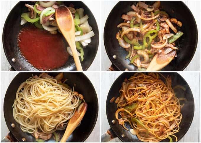 Step-by-step photo of making Ketchup Pasta.