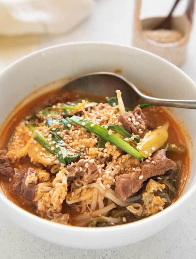 Hero shot of Korean Beef Soup with Rice.