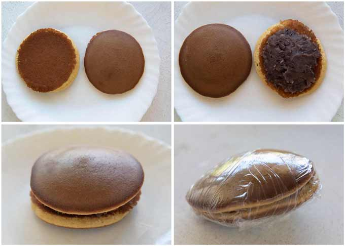 Step-by-step photo of assembling Dorayaki.