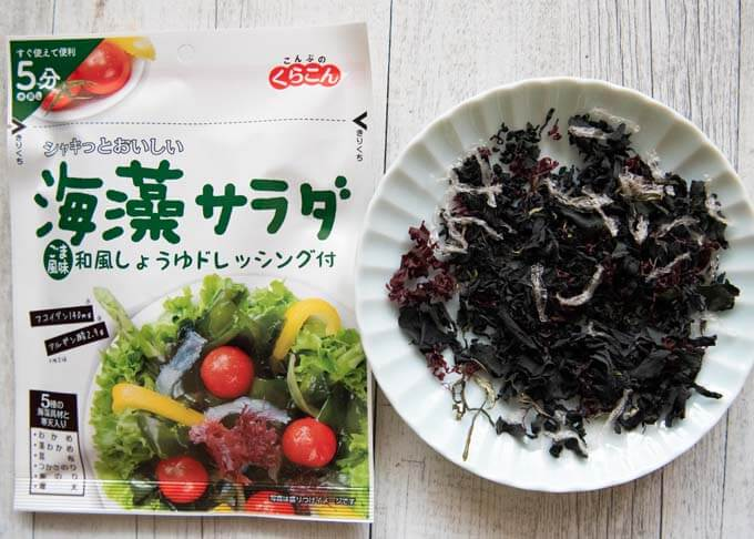 Mixed dried seaweed salad pack and contents.