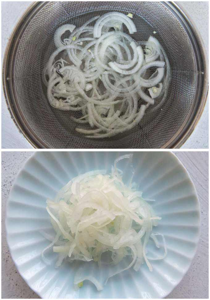 Showing how to remove bitterness from onion slices.