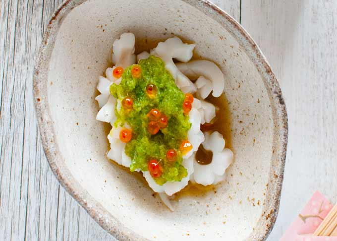 Top-down photo of Squid with Green Vinegar Dressing.