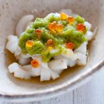 Hero shot of Squid with Green Vinegar Sauce.