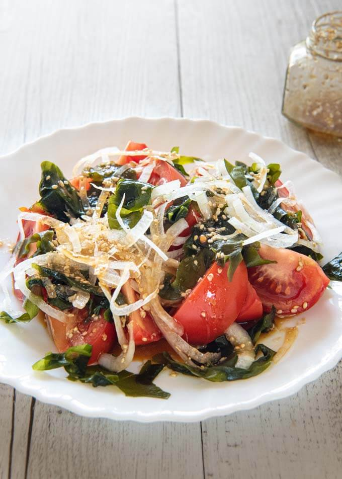 Hero shot of Tomato and Seaweed Salad.