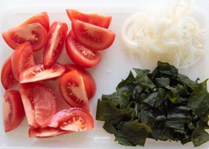Showing salad ingredients.