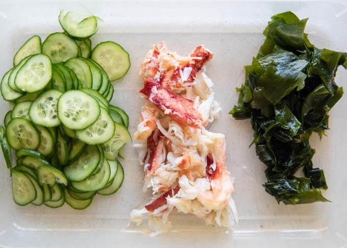 Crab, cucumber and wakame seaweed that make up of the salad.