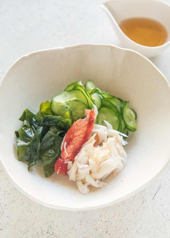 Serving Crab and Cucumber Salad in cluster.