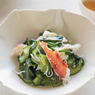 Hero shot of Crab and Cucumber Salad with Sweet Vinegar Dressing (Amazu).