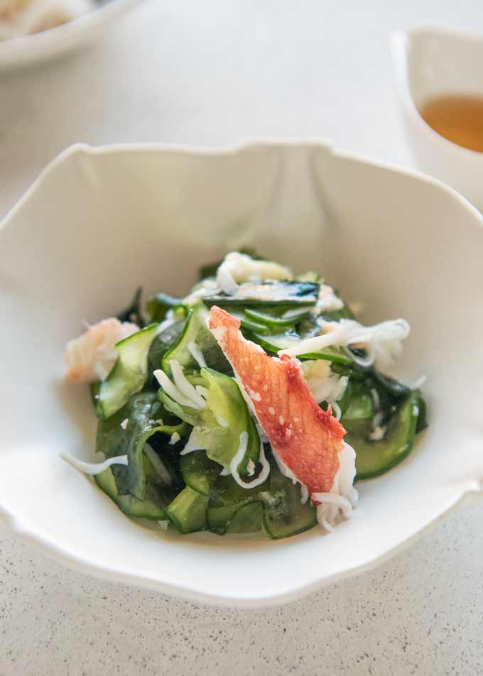 Hero shot of Crab and Cucumber Salad with Sweet Vinegar Dressing (Amazu).