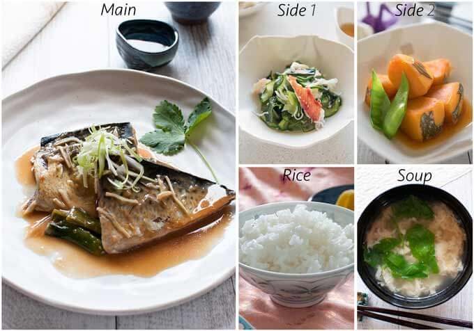 Meal idea with Crab and Cucumber Salad with Sweet Vinegar Dressing (Amazu).