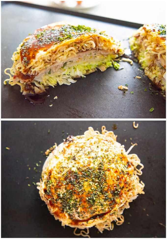 Hero shot of Hiroshina Okonomiyaki showing whle okonommiyaki from top and the okonomiyaki cut in half.