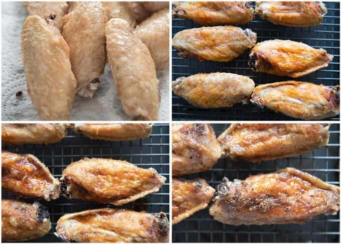 Step-by-step photo of deep-fried chicken wings and basting wings.