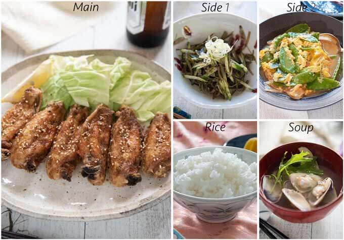 Meal idea with Nagoya-style fried chicken wings.