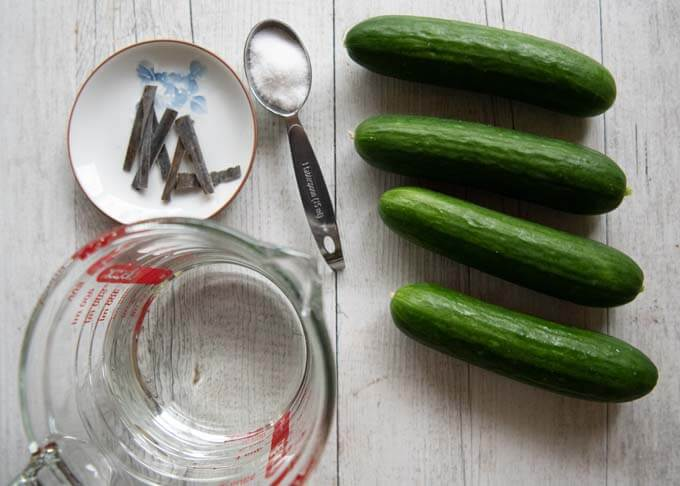 Ingredients for Salt Pickled Cucumbers.