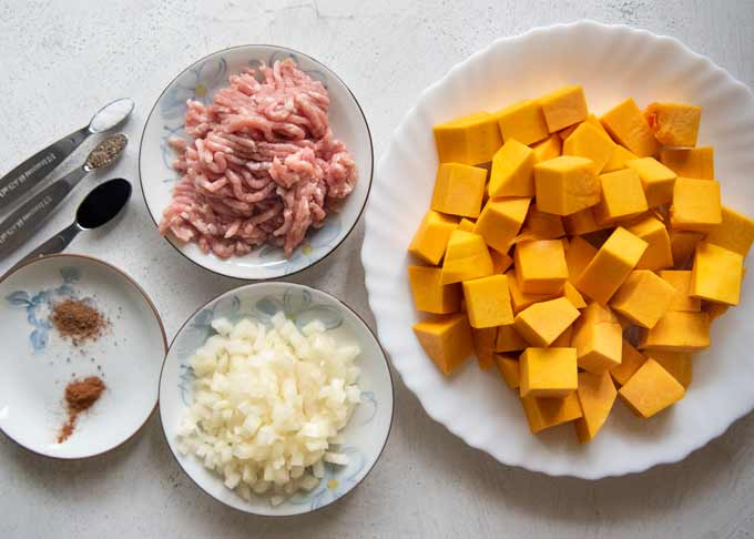 Ingredients of Pumpkin Croquettes.
