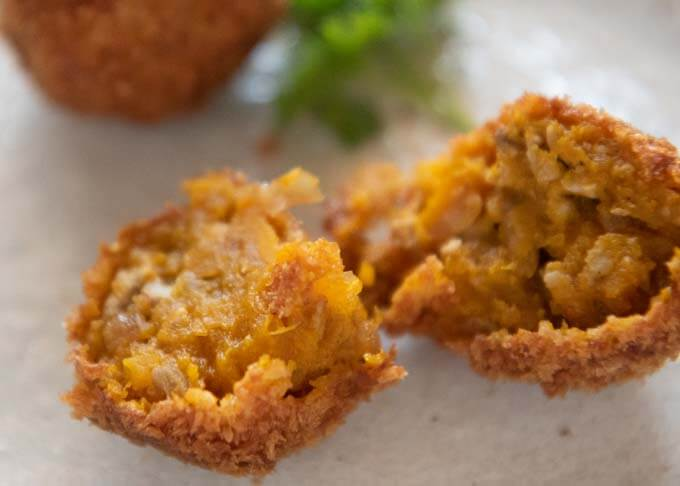 Showing the inside of a Pumpkin Croquette.