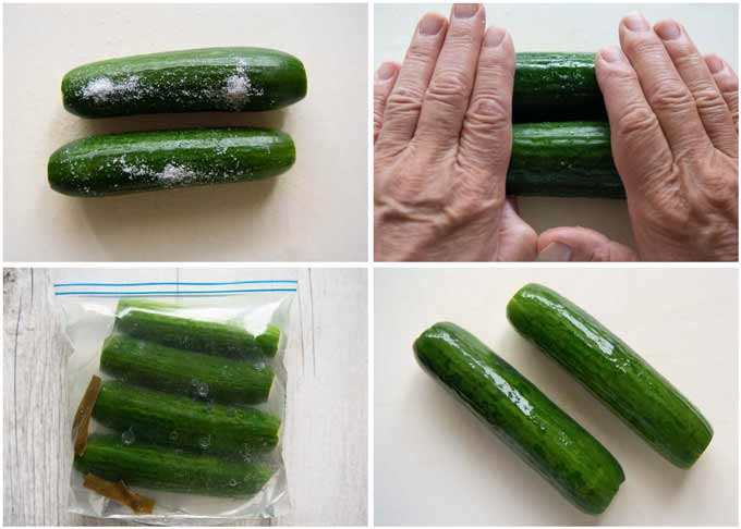 Step-by-step of making Salt Pickled Cucumbers.