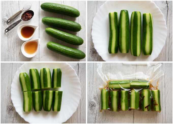 Ingredients and step-by-step photo of Shiro Dashi Pickled Cucumbers.