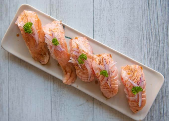 Top-down photo of 6 Aburi Salmon.