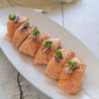 Hero Shot of Aburi Salmon sushi.