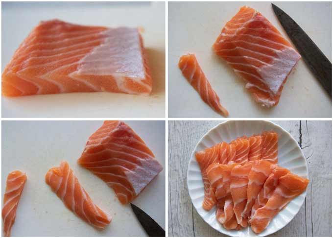 Showing how to slice a salmon fillet for nigiri sushi.