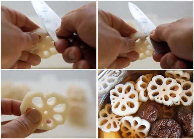 Step-by-step photo of how to make a lotus root flower.