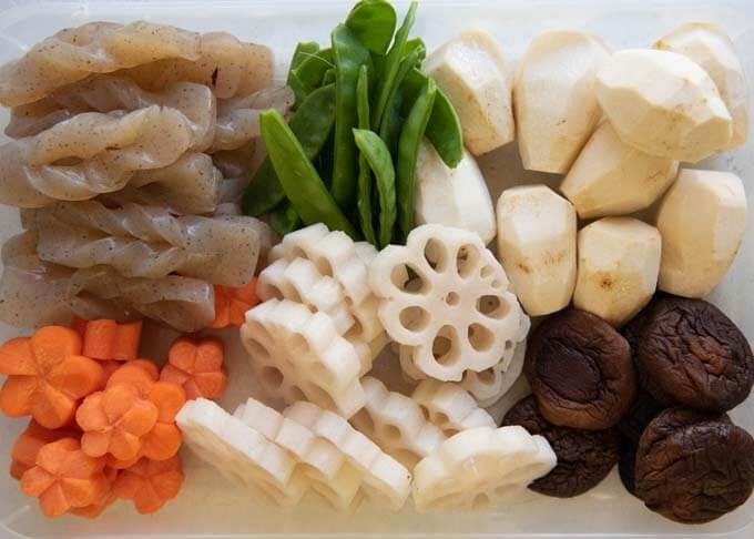 Ingredients for Simmered Vegetables (Nishime).