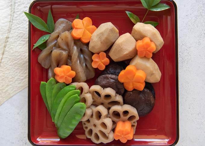 Top-down photo of Simmered Vegetables (Nishime).